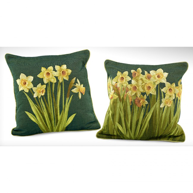 french needlepoint daffodil pillows scully & scully