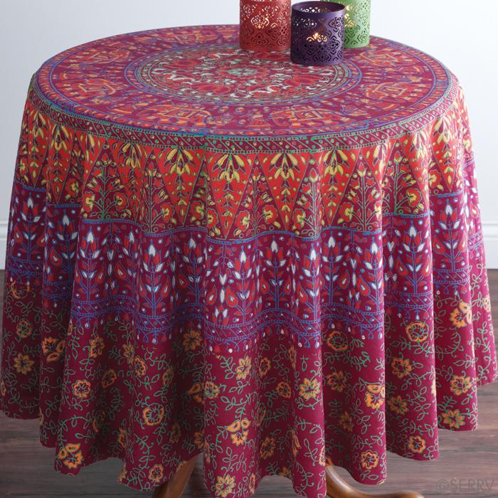 elephants plum round tablecloth serrv
