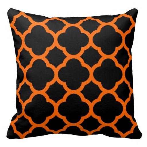 orange and black quatrefoil pillows zazzle