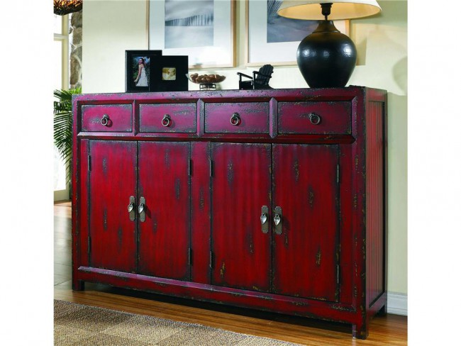 red asian cabinet