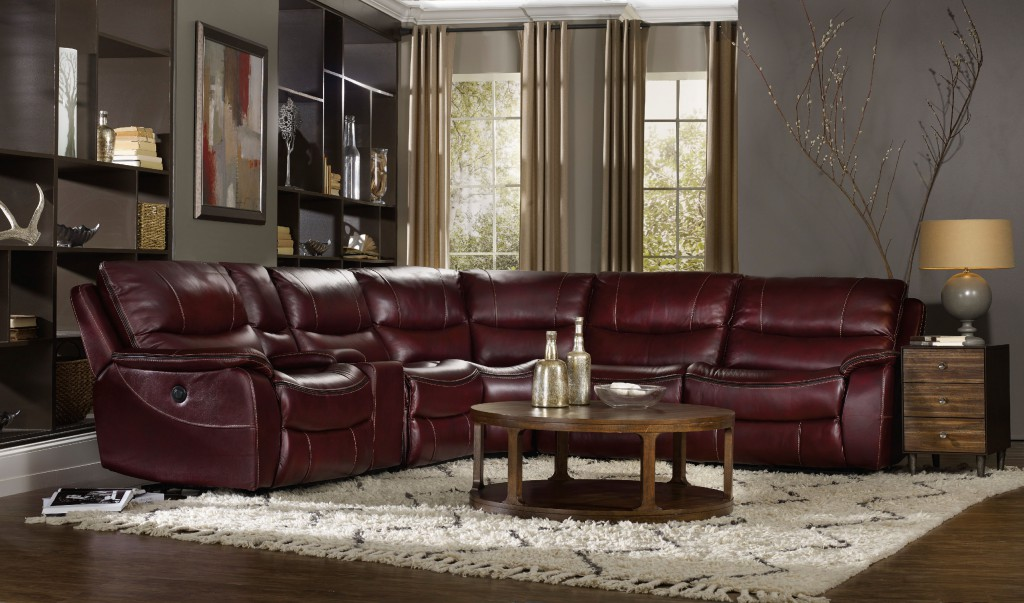 red wine with black trim sectional