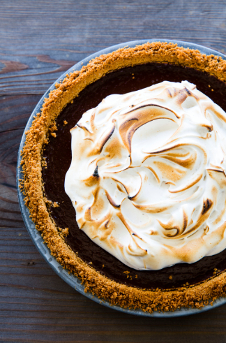 A chic spin on a campfire favorite, S'more pie is the perfect snack for a fireside chat. Photograph copyright © 2015 by Erin Kunkel, Ten Speed Press, an imprint of Penguin Random House LLC.