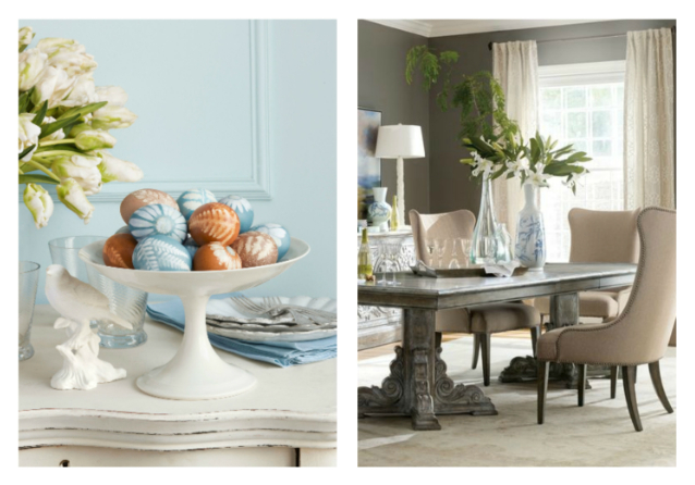Dress your home in its Easter best. That's the way to dine fine. Dana Gallagher, countryliving.com, hookerfurniture.com