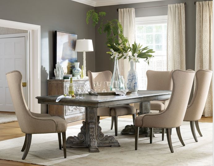 "With two 20-inch leaves that extend the table to 128"" long, the True Vintage dining table"