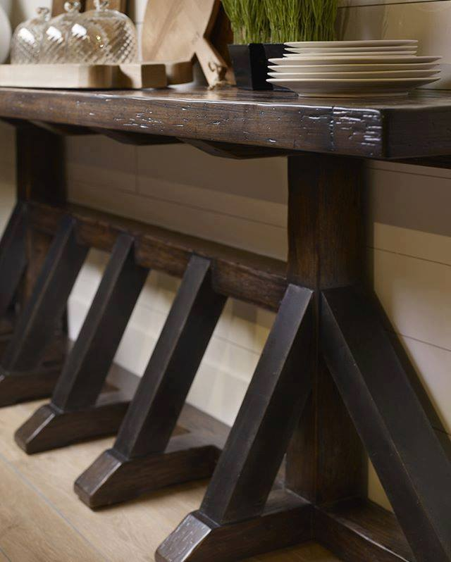 Exposed Beams Are Featured On Dining Chairs, An Office Tilt Swivel Chair,  Counter Stool, Upholstered Dining Bench And This Console Table.