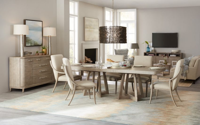 ... Youu0027ll Love The Affinity Dining Room. Its Light, Sandblasted Greige  Finish And Gently Sloped Chairs Are Truly Distinctive. Photo: Hooker  Furniture